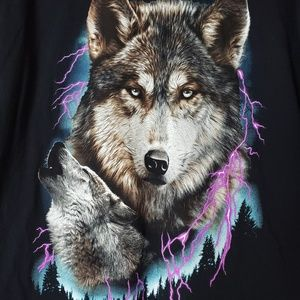 Graphics Black Tee Shirt Wolf Howling Size Large